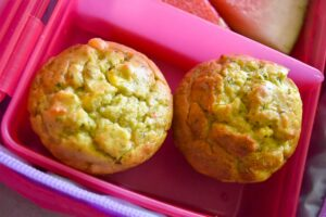Thermomix cheesy savoury muffins in pink lunchbox