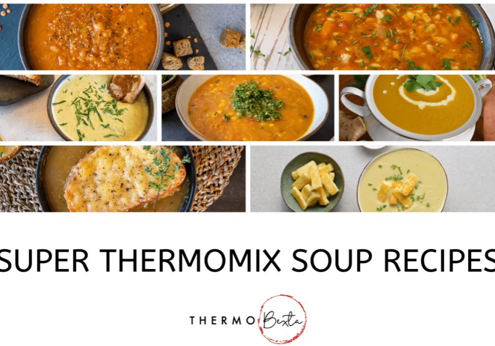 Seven bowls each containing a different type of soup, underneath is the title 'super Thermomix soup recipes' then under that, the Thermobexta logo